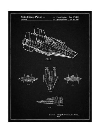 PP97-Vintage Black Star Wars RZ-1 A Wing Starfighter Patent Poster