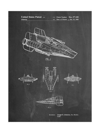 PP97-Chalkboard Star Wars RZ-1 A Wing Starfighter Patent Poster