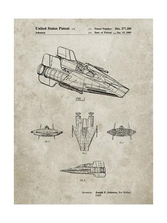 PP97-Sandstone Star Wars RZ-1 A Wing Starfighter Patent Poster