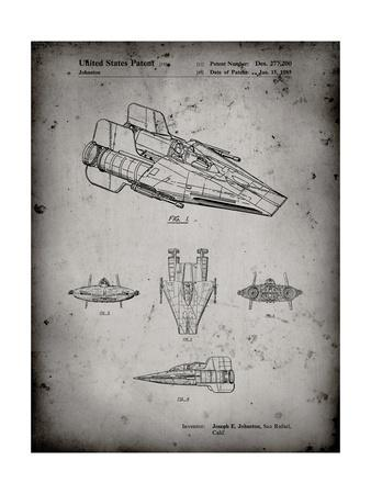 PP97-Faded Grey Star Wars RZ-1 A Wing Starfighter Patent Poster