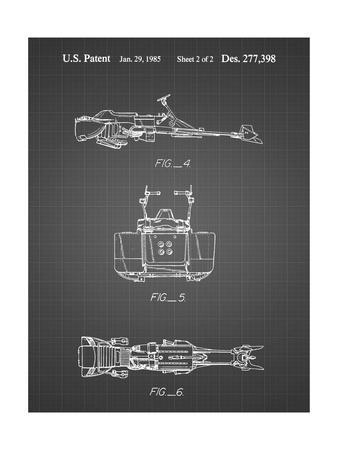 PP99-Black Grid Star Wars Speeder Bike Patent Poster