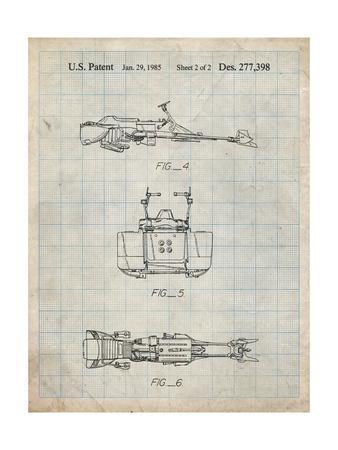 PP99-Antique Grid Parchment Star Wars Speeder Bike Patent Poster