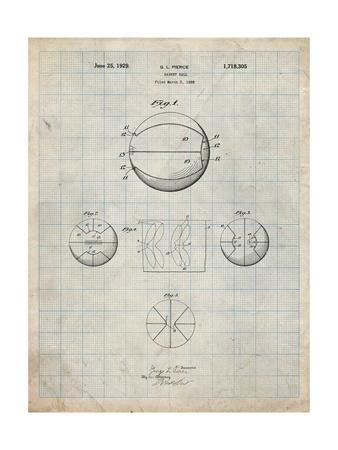 PP222-Antique Grid Parchment Basketball 1929 Game Ball Patent Poster