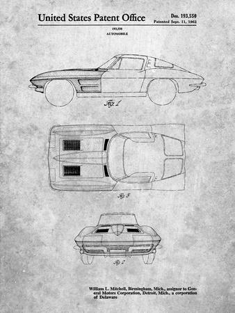 PP90-Slate 1962 Corvette Stingray Patent Poster