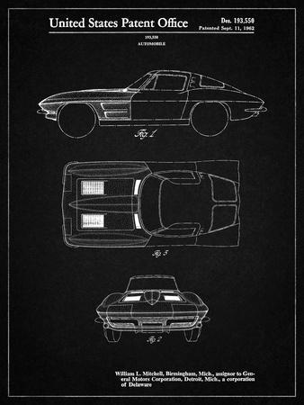 PP90-Vintage Black 1962 Corvette Stingray Patent Poster