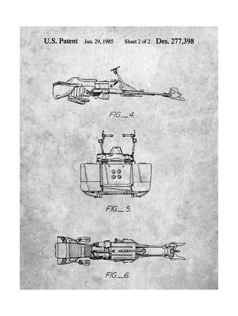 PP99-Slate Star Wars Speeder Bike Patent Poster