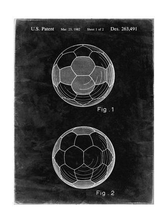 PP62-Black Grunge Leather Soccer Ball Patent Poster