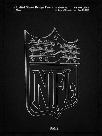 PP217-Vintage Black NFL Display Patent Poster