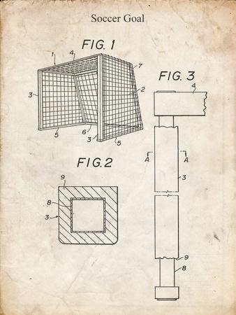 PP63-Vintage Parchment Soccer Goal Patent Poster