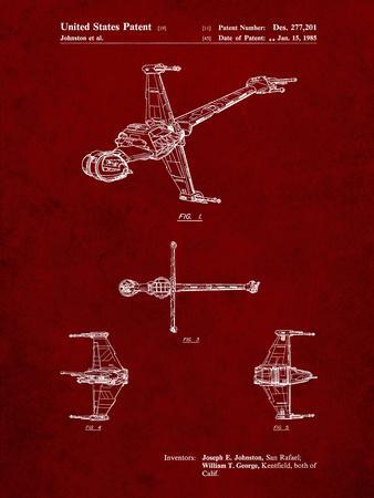 PP96-Burgundy Star Wars B-Wing Starfighter Patent Poster