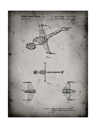 PP96-Faded Grey Star Wars B-Wing Starfighter Patent Poster