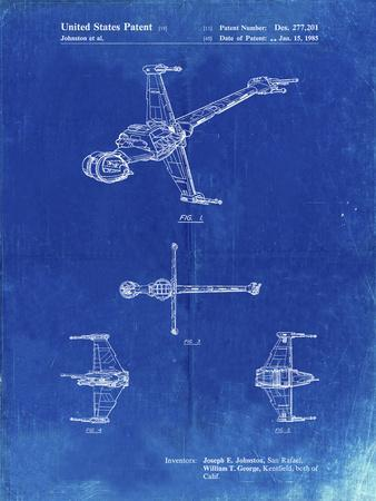 PP96-Faded Blueprint Star Wars B-Wing Starfighter Patent Poster
