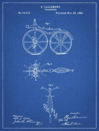 PP77-Blueprint First Bicycle 1866 Patent Poster