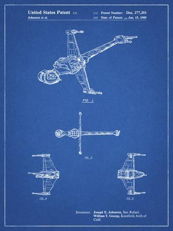 PP96-Blueprint Star Wars B-Wing Starfighter Patent Poster
