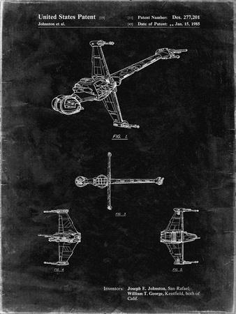 PP96-Black Grunge Star Wars B-Wing Starfighter Patent Poster