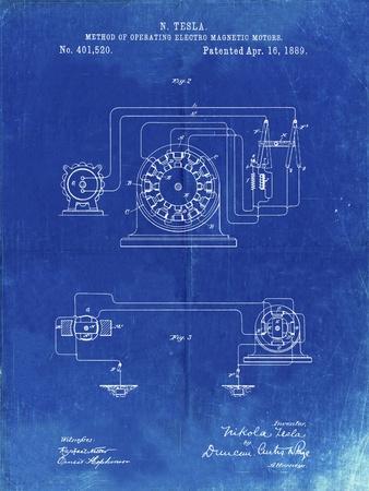 PP264-Faded Blueprint Tesla Operating Electric Motors Map Poster