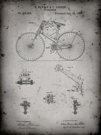 PP248-Faded Grey Bicycle 1890 Patent Poster
