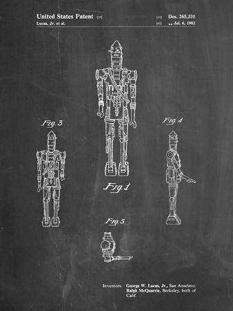 PP223-Chalkboard Star Wars IG-88 Patent Poster