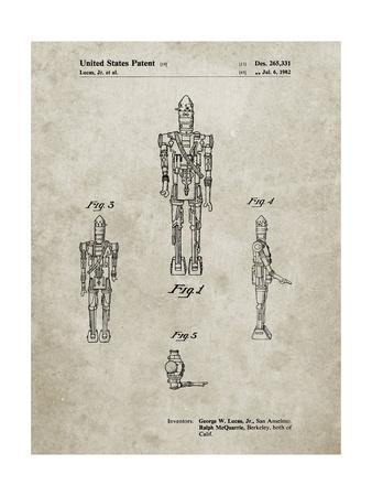 PP223-Sandstone Star Wars IG-88 Patent Poster