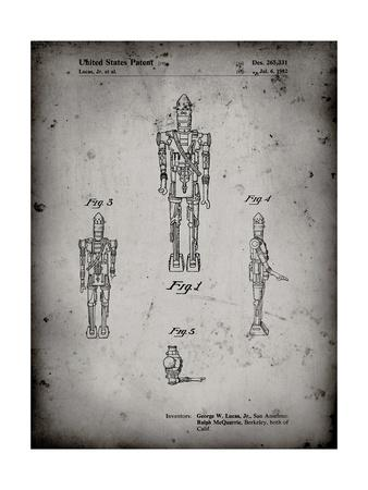 PP223-Faded Grey Star Wars IG-88 Patent Poster
