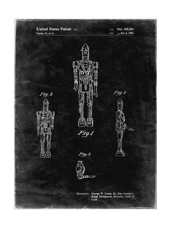 PP223-Black Grunge Star Wars IG-88 Patent Poster