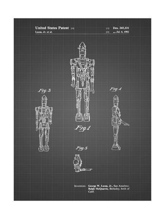 PP223-Black Grid Star Wars IG-88 Patent Poster