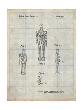 PP223-Antique Grid Parchment Star Wars IG-88 Patent Poster