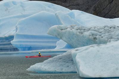 Kayaker exploring Grey Lake amid icebergs, Torres del Paine National Park, Chile, Patagonia
