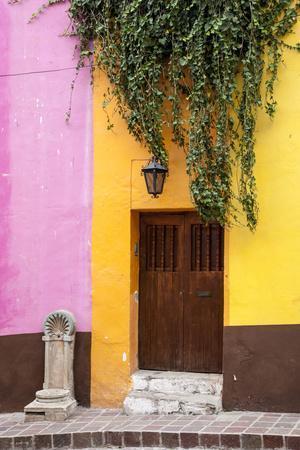 Mexico, Guanajuato, Door and Fountain in Guanajuato