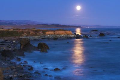 Full moon rising over Piedras Blancas elephant seal rookery, San Simeon, California, USA