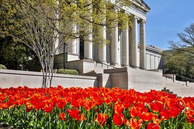 USA, Washington DC, National Gallery of Art West Building in Springtime