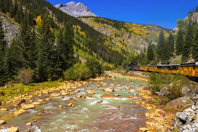Railroad on the Animas River, San Juan National Forest, Colorado, USA