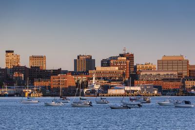 USA, Maine, skyline from South Portland at dawn