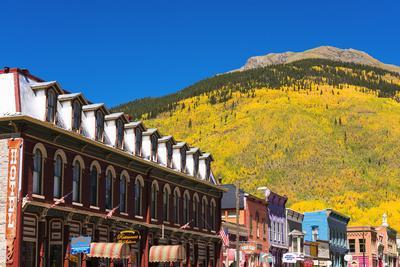 Historic downtown and fall color, Silverton, Colorado, USA