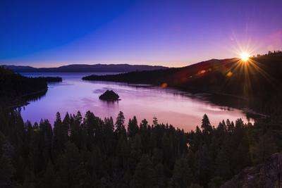 Dawn light over Emerald Bay on Lake Tahoe, Emerald Bay State Park, California, USA