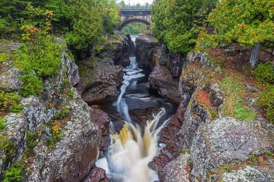 Minnesota, Temperance River State Park, Temperance River, gorge and waterfall