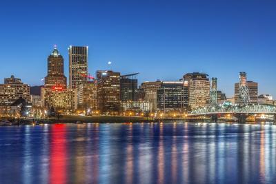 USA, Oregon, Portland, Downtown Skyline at Twilight