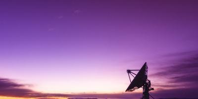 Radio telescope at sunset, Socorro, New Mexico, USA