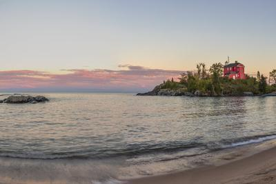Panoramic of the Marquette Harbor Lighthouse on Lake Superior in Marquette, Michigan USA