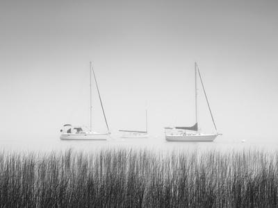 USA, New York State. Three sailboats, St. Lawrence River, Thousand Islands.