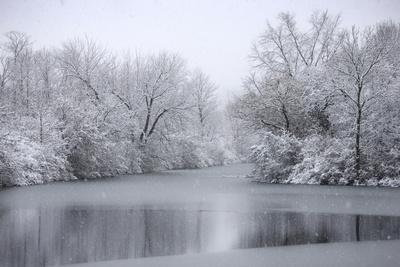 USA, New York State. Winter snowfall on the Erie Canal, Cedar Bay Park.