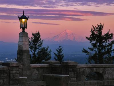 USA, Oregon, Portland. Mt. Hood with moonrise at sunset.
