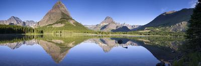 Mountains reflected in lake. Glacier National Park. Montana. Usa.