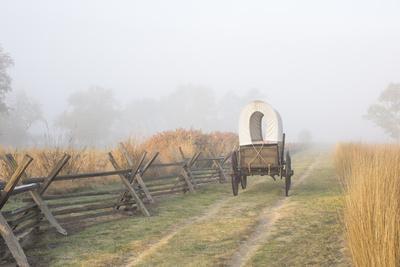 Wagon along the Oregon Trail at Whitman Mission, Walla Walla, Washington State