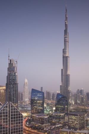 UAE, Downtown Dubai. Cityscape with Burj Khalifa at night.