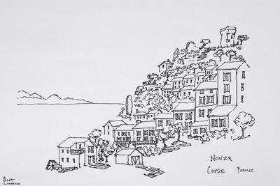 Hilltop village of Nonza, Corsica, France