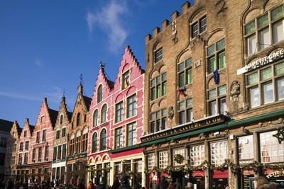 Belgium, Bruges. The Markt, market square buildings