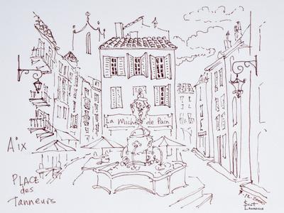 Fountain in Place des Tanneurs, Aix en Provence, France