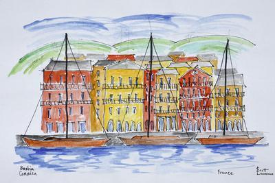 Sailboats moored in the port, Bastia, Corsica, France