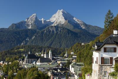 Mt. Watzmann looms over the town of Berchtesgaden, Bavaria, Germany